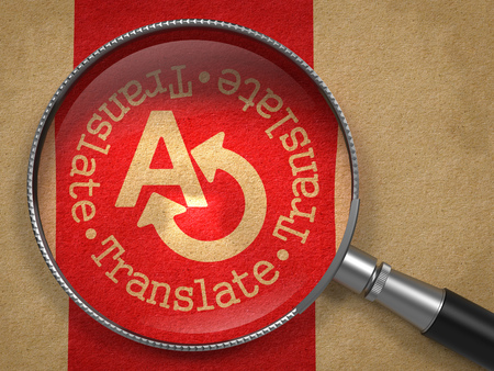 translating: Magnifying Glass with Translating Concept on Old Paper with Red Vertical Line Background. Communication Concept.