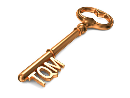 TQM -  Total Quality Management - Golden Key on White Background. Business Concept.