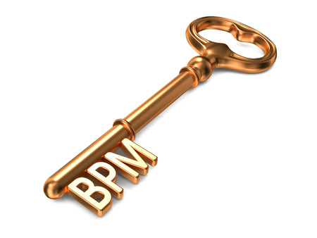 bpm: BPM - Business Performance Management or Business Process Management - Golden Key on White Background. Business Concept.