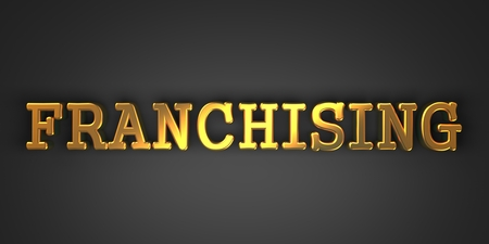 franchising: Franchising - Business Background. Gold Text on Dark Background.