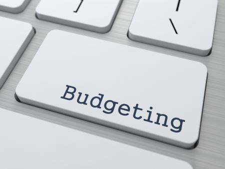 obligaciones: Presupuesto - Concepto de negocio. Bot�n de teclado de la computadora moderna.