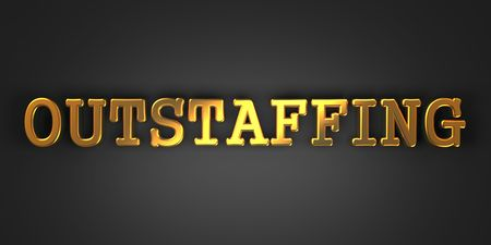 peo: Outstaffing - Business Background. Golden Text on a Black Background.