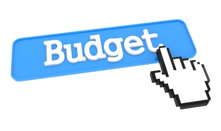 Budget Button with Hand Cursor. Business Concept. photo