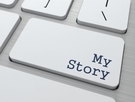 私の物語 - 現代コンピューターのキーボード上のボタン。