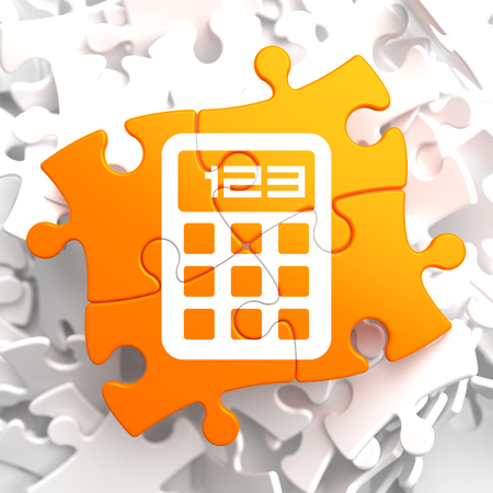 Icon of Calculator on Orange Puzzle. photo