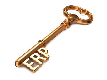 realtime: ERP -  Enterprise Resource Planning - Golden Key on White Background. Business Concept.