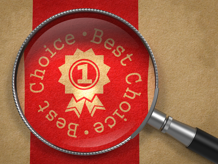 best choice: Magnifying Glass with Best Choice Written Arround Icon of Award on Old Paper with Red Vertical Line Background. Business Concept. Stock Photo