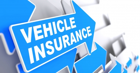 collisions: Vehicle Insurance - Business Concept. Blue Arrow with Vehicle Insurance Words on a Grey Background. Stock Photo