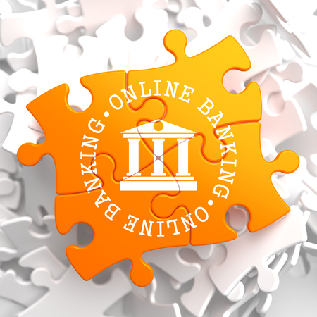 deposite: Online Banking on Orange Puzzle. Business Concept.