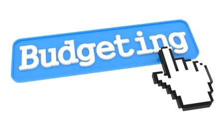 budgeting: Budgeting Button with Hand Cursor. Business Concept. Stock Photo