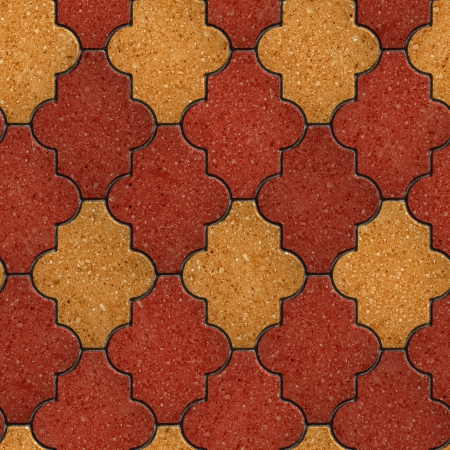 figured: Red and Yellow Figured Pavement. Seamless Tileable Texture. Stock Photo