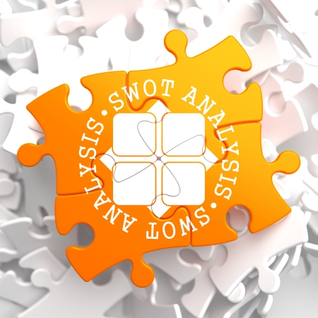 strengths: SWOT Analisis Written Arround Icon on Orange Puzzle. Business Concept.