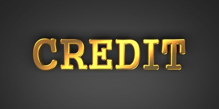 derivation: Credit - Business Background. Golden Text on a Black Background.