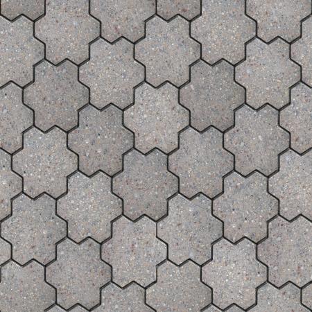 Grijs Stevig Bestrating in de vorm van een bloem met zes bloemblaadjes. Naadloze Textuur Tileable.