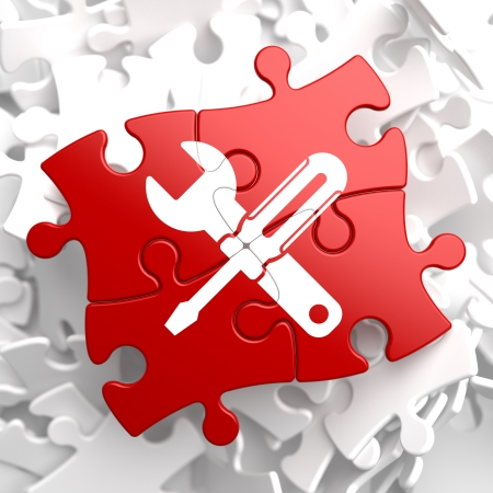 computer repair technician: Service Concept - Icon of Crossed Screwdriver and Wrench - Located on Red Puzzle. Business  Background. Stock Photo