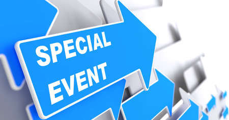 happening: Special Event. Blue Arrow with Special Event Slogan on a Grey Background. Stock Photo