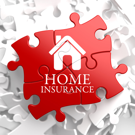 Home Insurance Inscription with Home Icon on Red Puzzle. Business Concept. photo