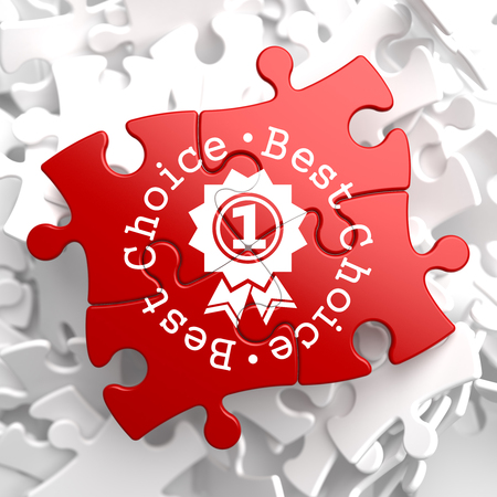 Best Choice Written Arround Icon of Award on Red Puzzle. Business Concept. photo