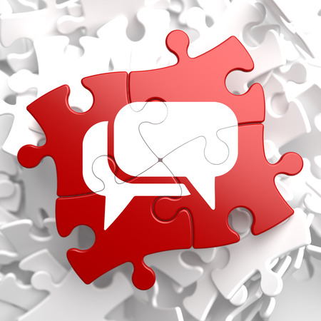 White Speech Bubble Icon on Red Puzzle. Communication Concept. Stock Photo - 23681445