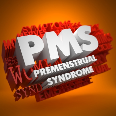 menses: PMS - Premenstrual Syndrome - the Words in White Color on Cloud of Red Words on Orange Background. Stock Photo