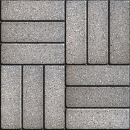perpendicular: Gray Pavement of Rectangles Laid Out on Three Pieces Perpendicular to Each Other. Seamless Tileable Texture.
