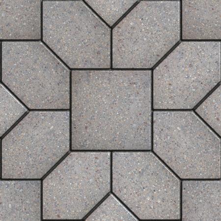 materiales de construccion: Pavimento gris bajo la forma de hexágonos como pétalos coloca a la plaza. Textura inconsútil de Tileable. Foto de archivo