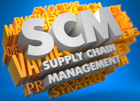 scm: SCM - Supply Chain Management. The Words in White Color on Cloud of Yellow Words on Blue Background.