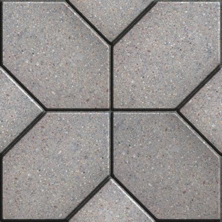 Graues Pflaster aus vier Sechsecke in der Form der Blütenblätter. Nahtlose Tileable Beschaffenheit.