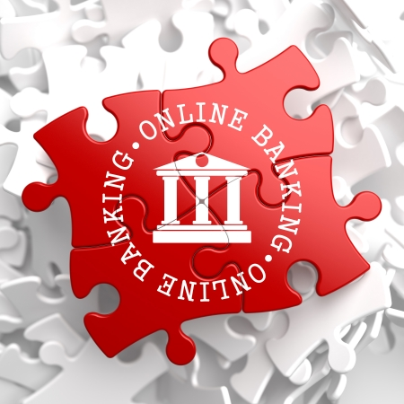Online Banking on Red Puzzle. Business Concept. photo