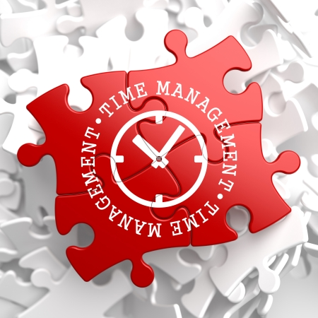 delegation: Time Management with Icon of Clock Face Written on Red Puzzle Pieces. Business Concept.