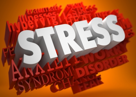 Stress - the Word in White Color on Cloud of Red Words on Orange Background. photo