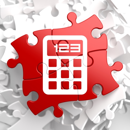 Icon of Calculator on Red Puzzle. photo