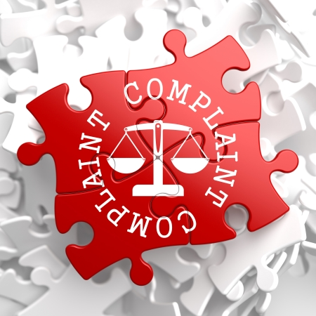 Complaint Word Written Arround Icon of Scales in Balance, Located on Red Puzzle. Business Concept. photo