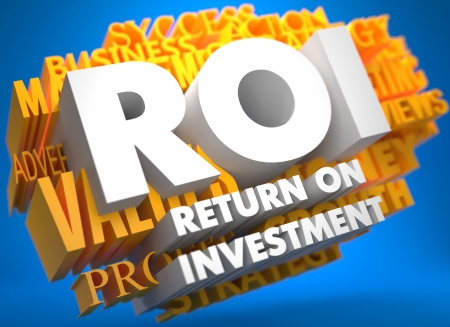coefficient: ROI - Return on Investment. The Words in White Color on Cloud of Yellow Words on Blue Background. Stock Photo