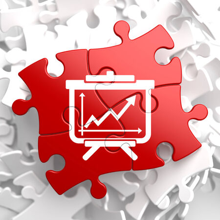 flipchart: Flipchart with Growth Chart Icon on Red Puzzle. Business Concept.