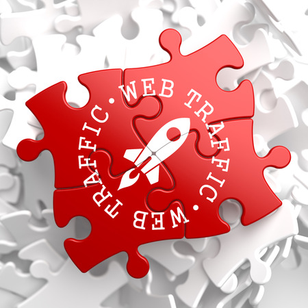 Web Traffic Written Arround Icon of Go Up Rocket, Located on Red Puzzle. Internet Concept. photo