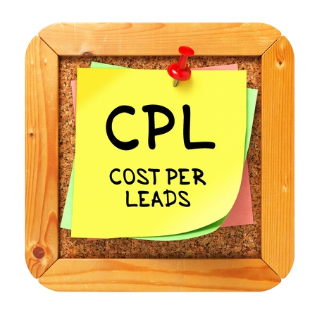 CPL - Cost per Lead - Written on Yellow Sticker on Cork Bulletin or Message Board. Business Concept. Stock Photo - 23687561