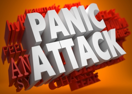 panic: Pannic Attack - the Words in White Color on Cloud of Red Words on Orange Background.