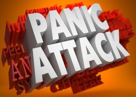 Pannic Attack - de Woorden in witte kleur op Cloud van Red Woorden op oranje achtergrond. Stockfoto