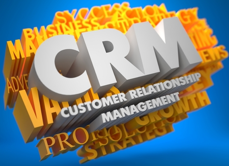 CRM - Customer Relationship Management. The Words in White Color on Cloud of Yellow Words on Blue Background. photo