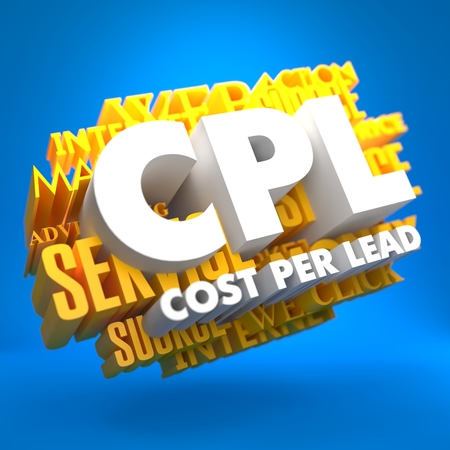 explicit: CPL - Cost per Lead. The Words in White Color on Cloud of Yellow Words on Blue Background.
