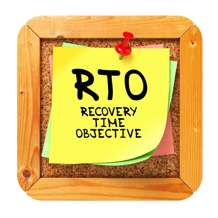 viable: RTO - Recovery Time Objective - Written on Yellow Sticker on Cork Bulletin or Message Board. Business Concept. Stock Photo