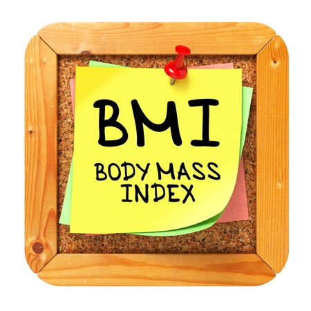 bmi: BMI - Body Mass Index - Written on Yellow Sticker on Cork Bulletin or Message Board. Health Concept. Stock Photo