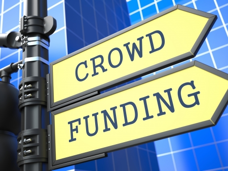 Crowd Funding on Yellow Roadsign on Blue Urban Background. Internet Concept. photo
