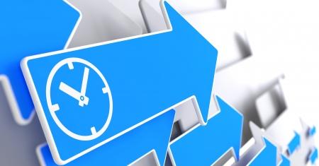 delegar: Icono de reloj en flecha azul en un fondo gris.