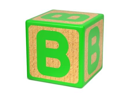 wood blocks: Letter B on Green Wooden Childrens Alphabet Block  Isolated on White. Educational Concept.