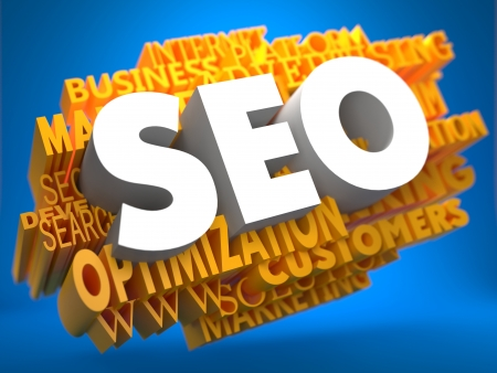 internet traffic: SEO on White Color on Cloud of Yellow Words on Blue Background. Internet Concept.