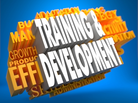 Training and Development on White Color on Cloud of Yellow Words on Blue Background. Business Educational Concept. photo