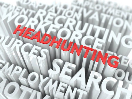 Headhunting - Word in Red Color Surrounded by a Cloud of Words Gray. Wordcloud Concept. photo