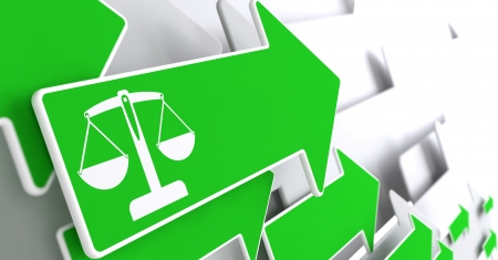 advocacy: Icon of Scales in Balance on Green Arrow on a Grey Background. Justice Concept